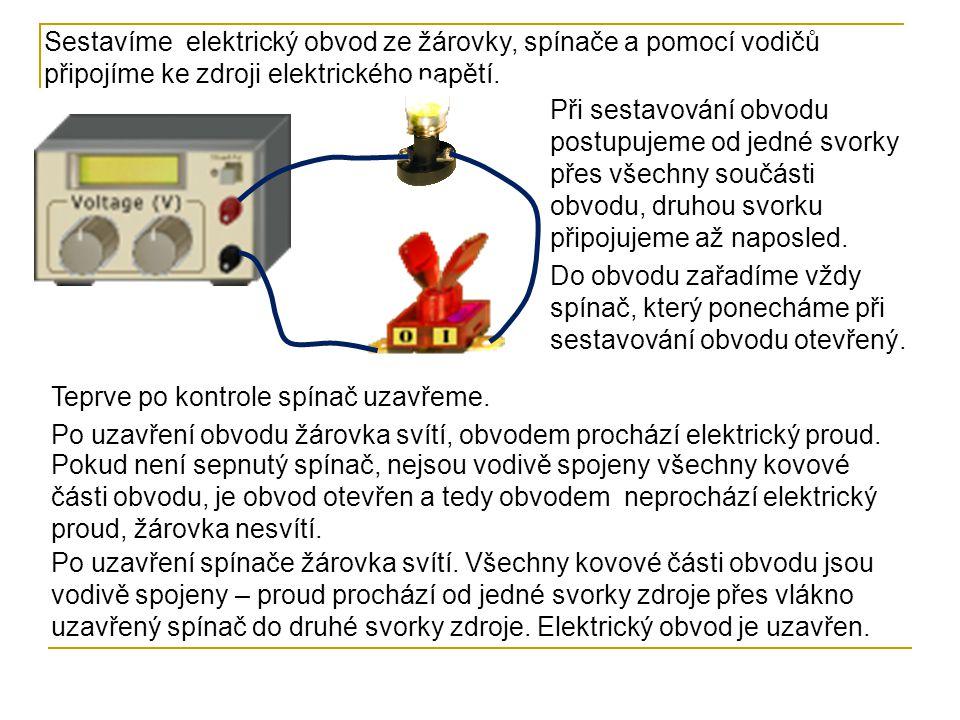 Sestavíme elektrický obvod ze žárovky, spínače a pomocí vodičů připojíme ke zdroji elektrického napětí.