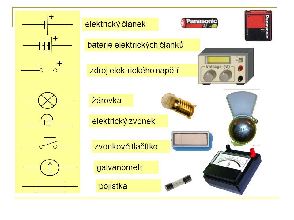 elektrický článek baterie elektrických článků zdroj elektrického napětí žárovka elektrický zvonek zvonkové tlačítko galvanometr pojistka