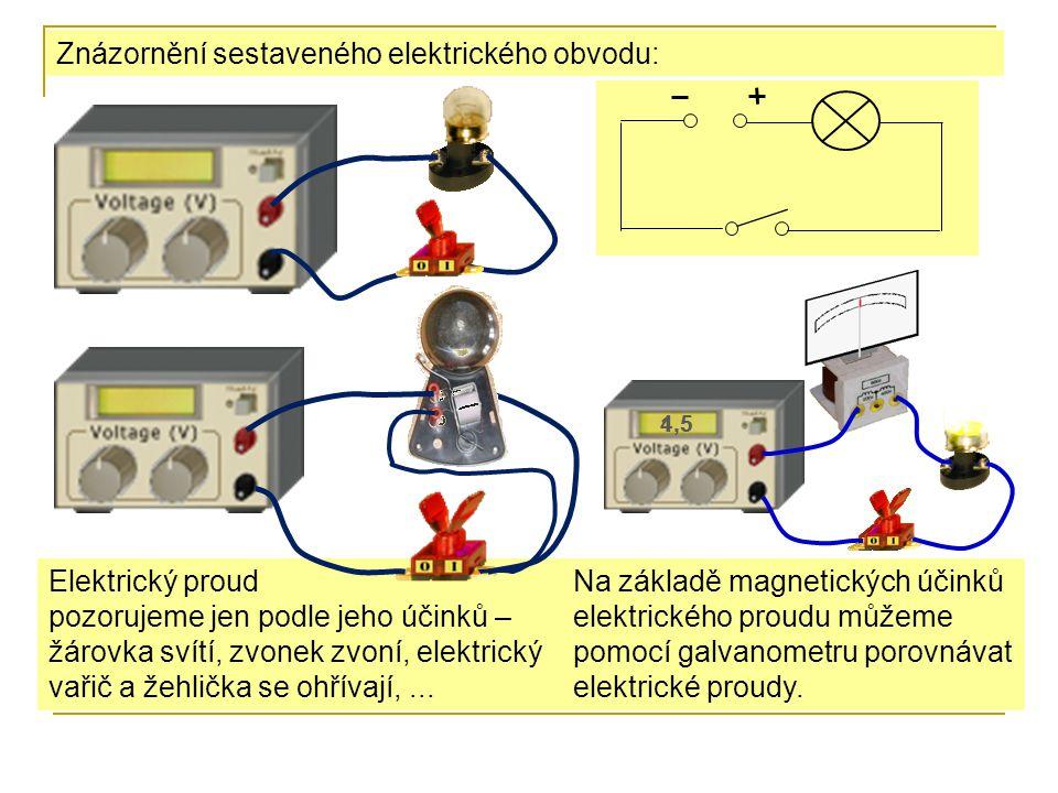 Znázornění sestaveného elektrického obvodu: Elektrický proud pozorujeme jen podle jeho účinků – žárovka svítí, zvonek zvoní, elektrický vařič a žehlička se ohřívají,...