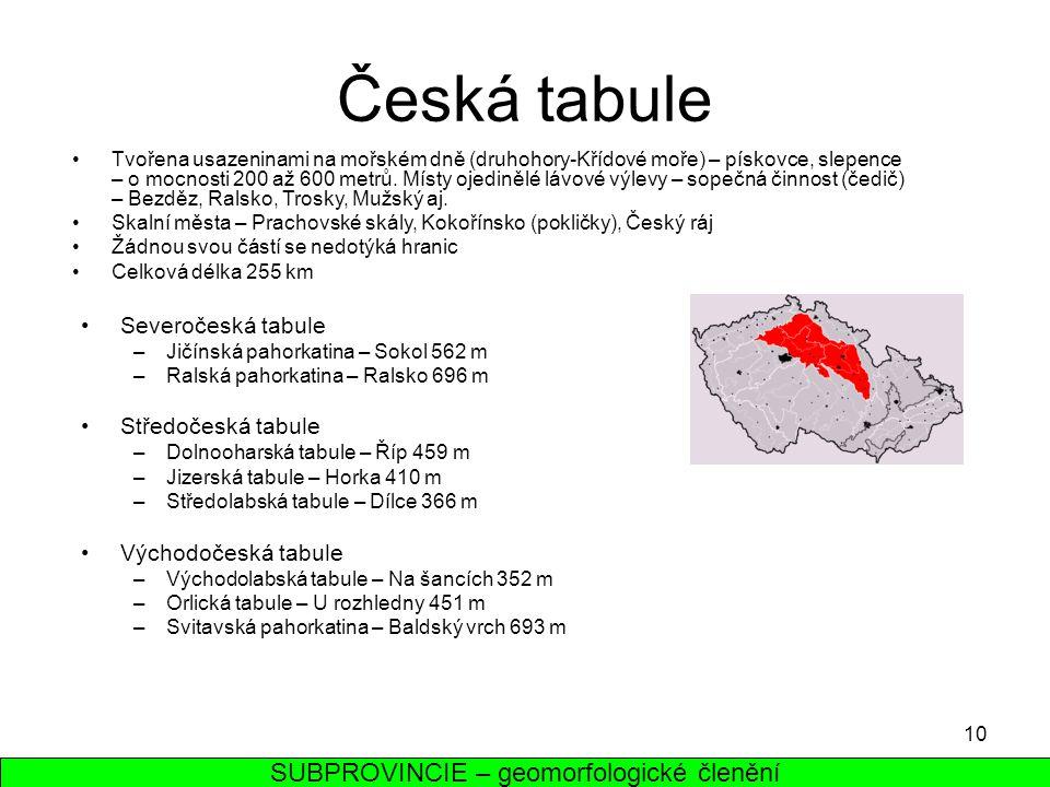 10 Česká tabule Tvořena usazeninami na mořském dně (druhohory-Křídové moře) – pískovce, slepence – o mocnosti 200 až 600 metrů. Místy ojedinělé lávové
