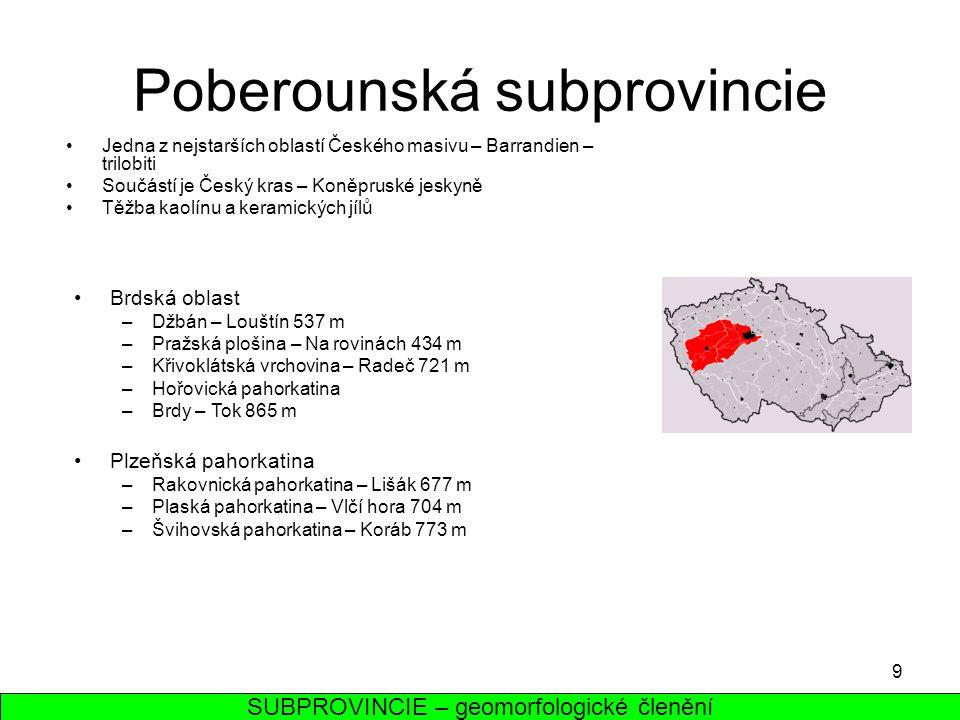 9 Poberounská subprovincie Jedna z nejstarších oblastí Českého masivu – Barrandien – trilobiti Součástí je Český kras – Koněpruské jeskyně Těžba kaolí
