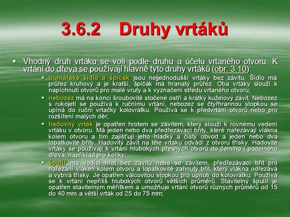 3.6.2Druhy vrtáků  Vhodný druh vrtáku se volí podle druhu a účelu vrtaného otvoru.