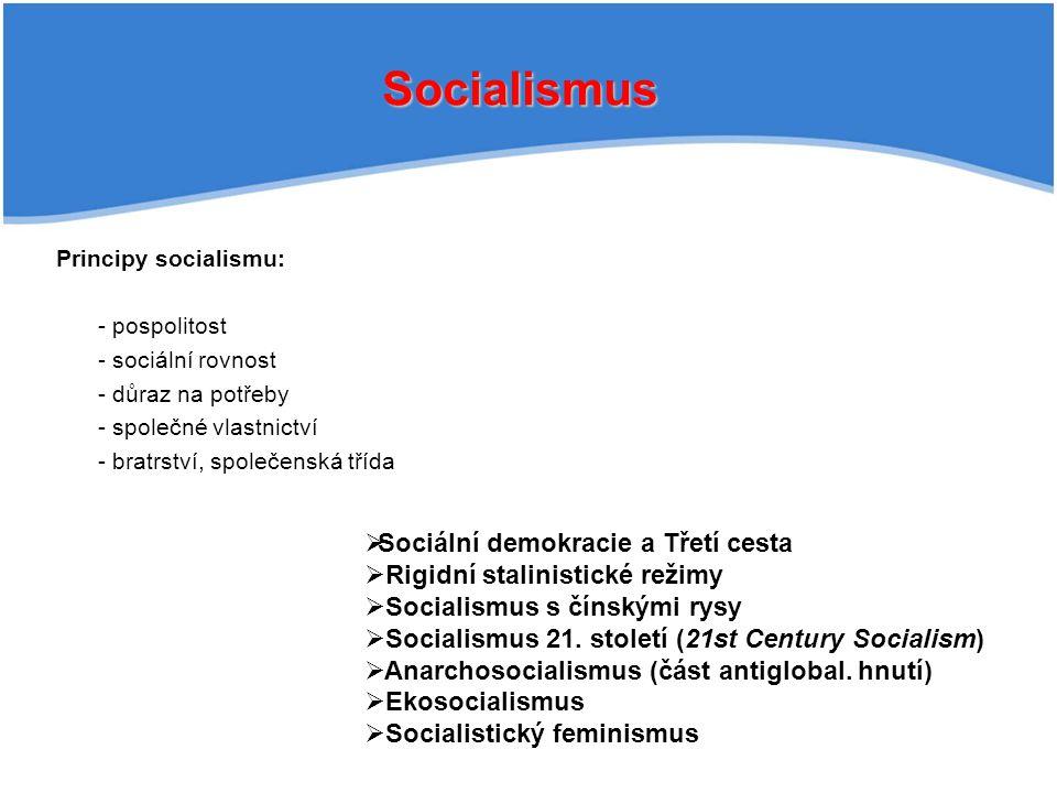 Socialismus Principy socialismu: - pospolitost - sociální rovnost - důraz na potřeby - společné vlastnictví - bratrství, společenská třída   Sociální demokracie a Třetí cesta   Rigidní stalinistické režimy   Socialismus s čínskými rysy   Socialismus 21.