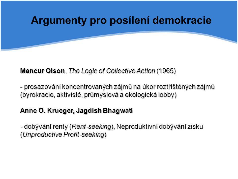 Argumenty pro posílení demokracie Mancur Olson, The Logic of Collective Action (1965) - prosazování koncentrovaných zájmů na úkor roztříštěných zájmů (byrokracie, aktivisté, průmyslová a ekologická lobby) Anne O.