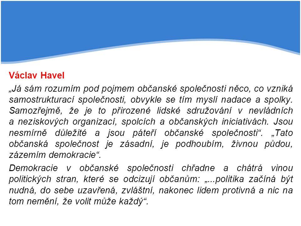 """Václav Havel """"Já sám rozumím pod pojmem občanské společnosti něco, co vzniká samostrukturací společnosti, obvykle se tím myslí nadace a spolky. Samozř"""