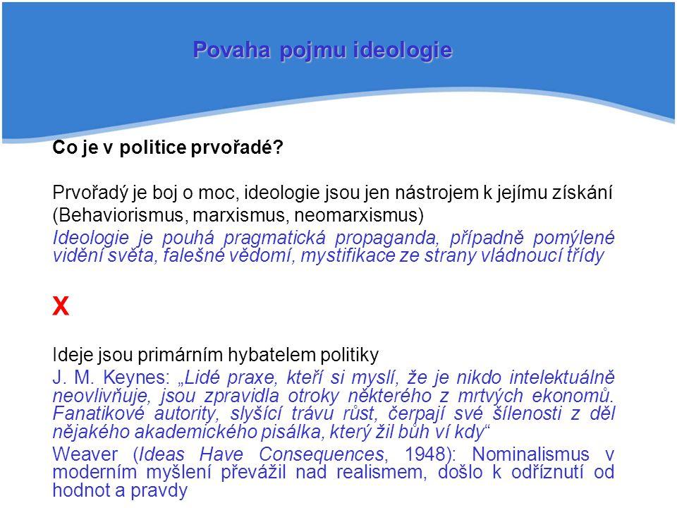 Co je v politice prvořadé? Prvořadý je boj o moc, ideologie jsou jen nástrojem k jejímu získání (Behaviorismus, marxismus, neomarxismus) Ideologie je
