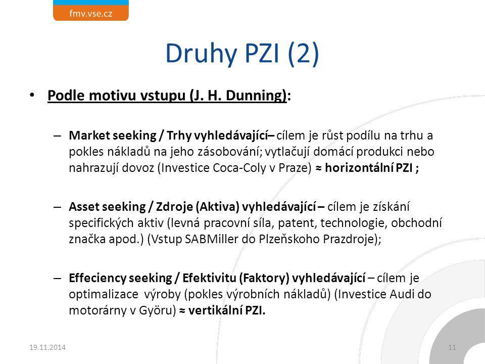 Druhy PZI (2) Podle motivu vstupu (J. H. Dunning): – Market seeking / Trhy vyhledávající– cílem je růst podílu na trhu a pokles nákladů na jeho zásobo