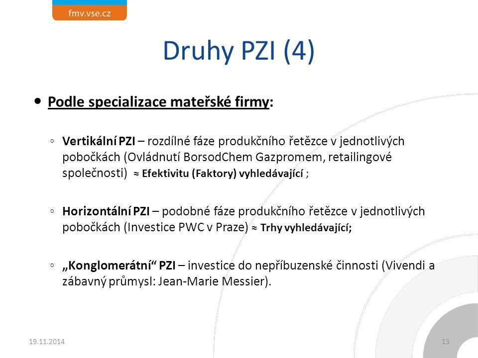 Druhy PZI (4) Podle specializace mateřské firmy: ◦ Vertikální PZI – rozdílné fáze produkčního řetězce v jednotlivých pobočkách (Ovládnutí BorsodChem G