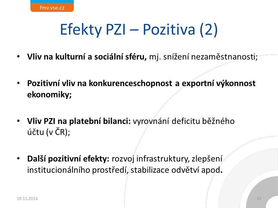 Efekty PZI – Pozitiva (2) Vliv na kulturní a sociální sféru, mj. snížení nezaměstnanosti; Pozitivní vliv na konkurenceschopnost a exportní výkonnost e