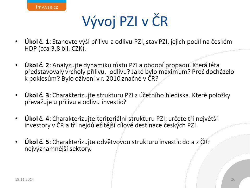 Vývoj PZI v ČR Úkol č. 1: Stanovte výši přílivu a odlivu PZI, stav PZI, jejich podíl na českém HDP (cca 3,8 bil. CZK). Úkol č. 2: Analyzujte dynamiku