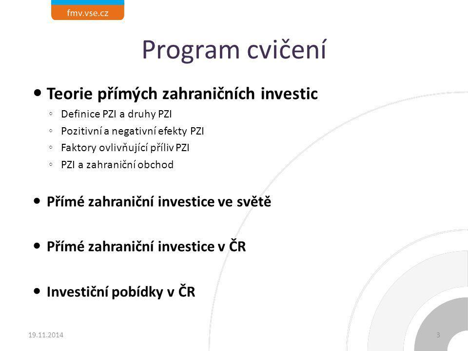 Program cvičení Teorie přímých zahraničních investic ◦ Definice PZI a druhy PZI ◦ Pozitivní a negativní efekty PZI ◦ Faktory ovlivňující příliv PZI ◦