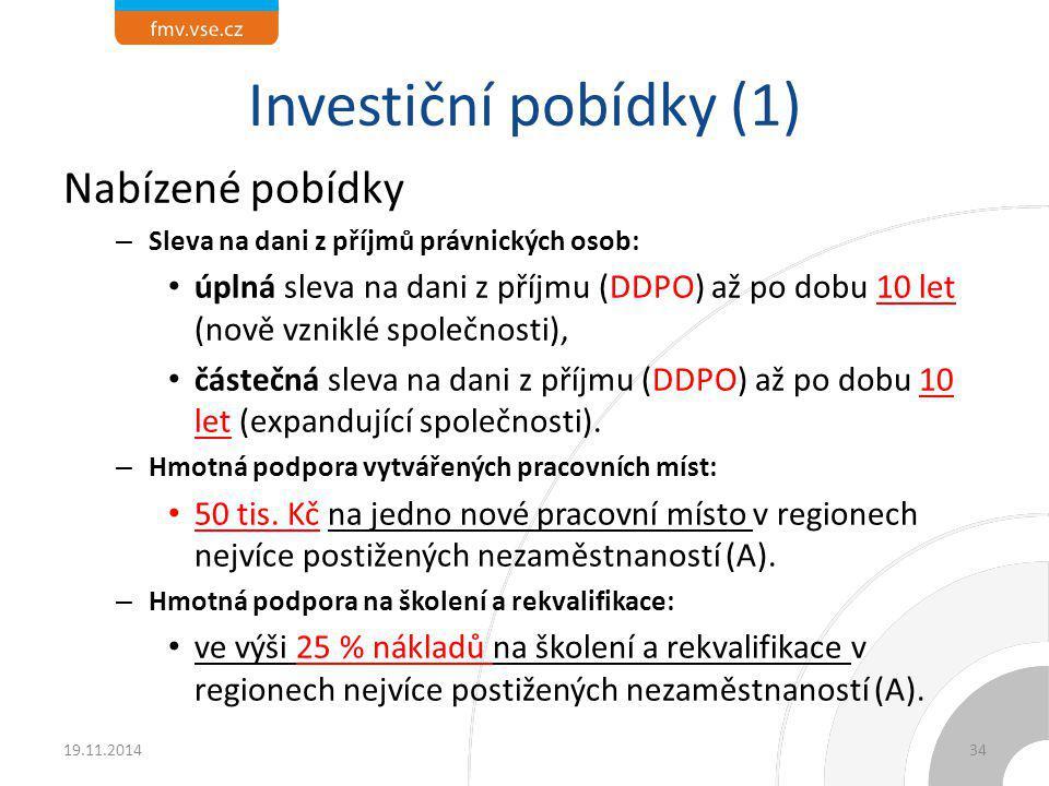 Investiční pobídky (1) Nabízené pobídky – Sleva na dani z příjmů právnických osob: úplná sleva na dani z příjmu (DDPO) až po dobu 10 let (nově vzniklé
