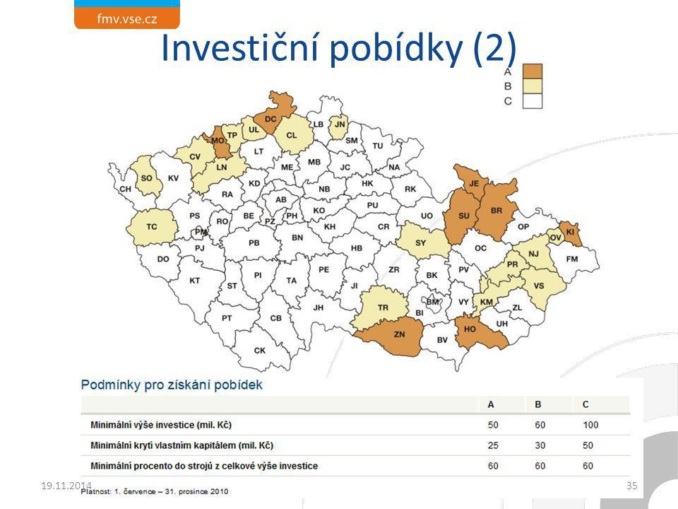Investiční pobídky (2) 19.11.201435