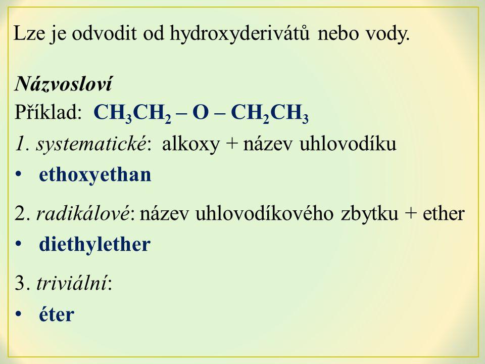 Názvosloví Příklad: CH 3 CH 2 – O – CH 2 CH 3 1.