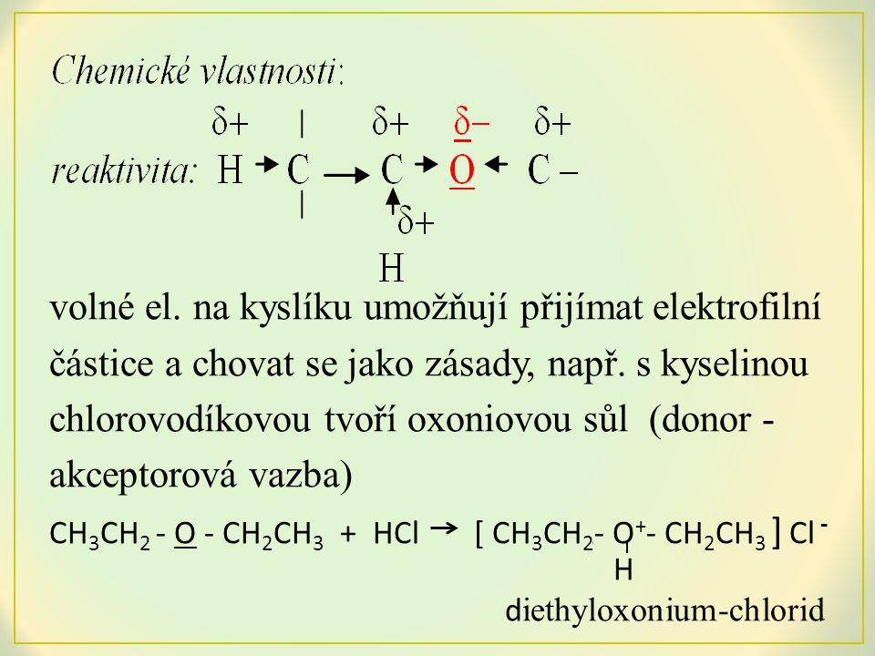 vazba C – O má polární charakter, proto může docházet k substituci skupiny -OR a tím ke štěpení etherů ethery s terciálním alkylem se poměrně snadno štěpí za tepla v přítomnosti silných zředěných kyselin 7