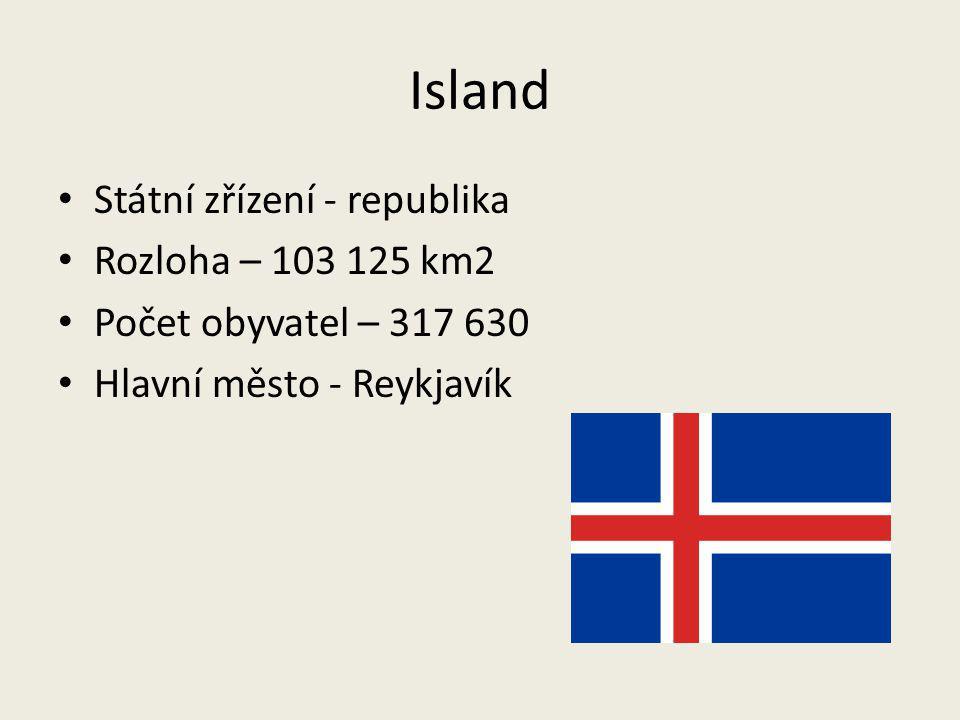 Island Státní zřízení - republika Rozloha – 103 125 km2 Počet obyvatel – 317 630 Hlavní město - Reykjavík