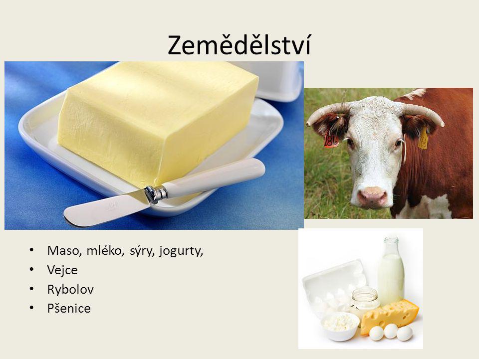 Zemědělství Maso, mléko, sýry, jogurty, Vejce Rybolov Pšenice