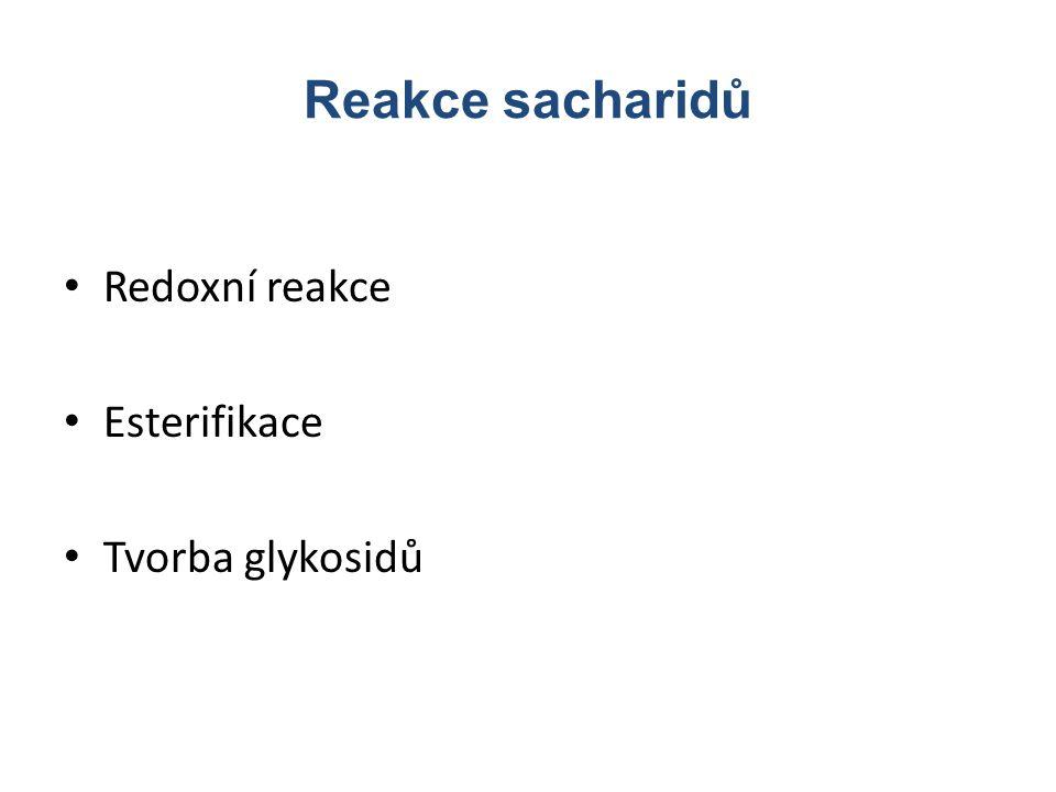 Reakce sacharidů Redoxní reakce Esterifikace Tvorba glykosidů
