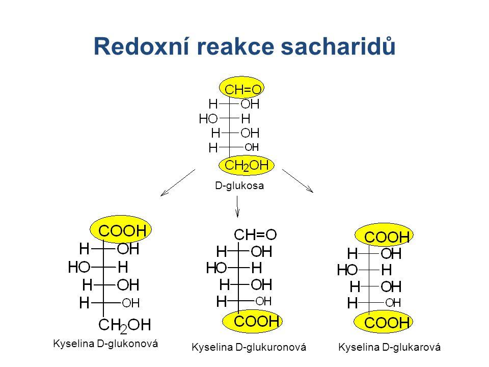 Redoxní reakce sacharidů D-glukosa Kyselina D-glukonová Kyselina D-glukuronováKyselina D-glukarová