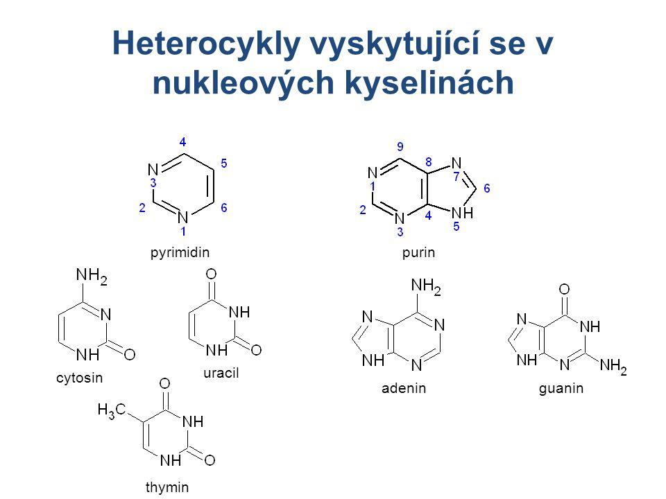 Heterocykly vyskytující se v nukleových kyselinách purinpyrimidin cytosin uracil thymin adeninguanin
