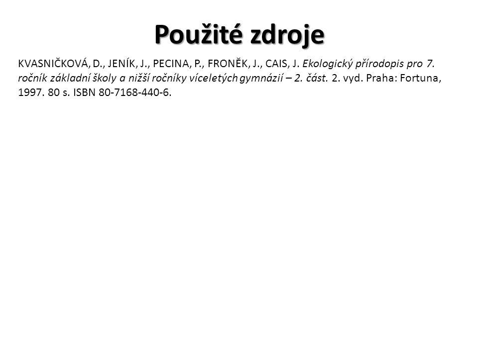 Použité zdroje KVASNIČKOVÁ, D., JENÍK, J., PECINA, P., FRONĚK, J., CAIS, J.