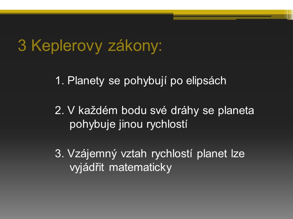 3 Keplerovy zákony: 1. Planety se pohybují po elipsách 2. V každém bodu své dráhy se planeta pohybuje jinou rychlostí 3. Vzájemný vztah rychlostí plan