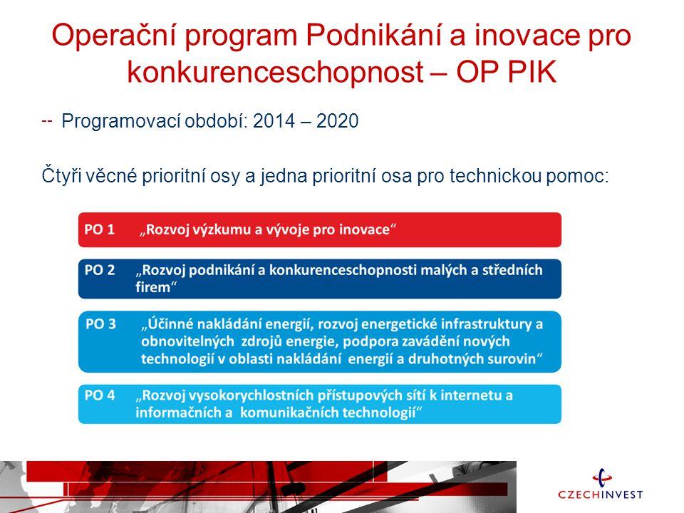 Operační program Podnikání a inovace pro konkurenceschopnost – OP PIK Programovací období: 2014 – 2020 Čtyři věcné prioritní osy a jedna prioritní osa pro technickou pomoc: