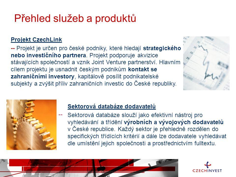 Projekt CzechLink -- Projekt je určen pro české podniky, které hledají strategického nebo investičního partnera. Projekt podporuje akvizice stávajícíc