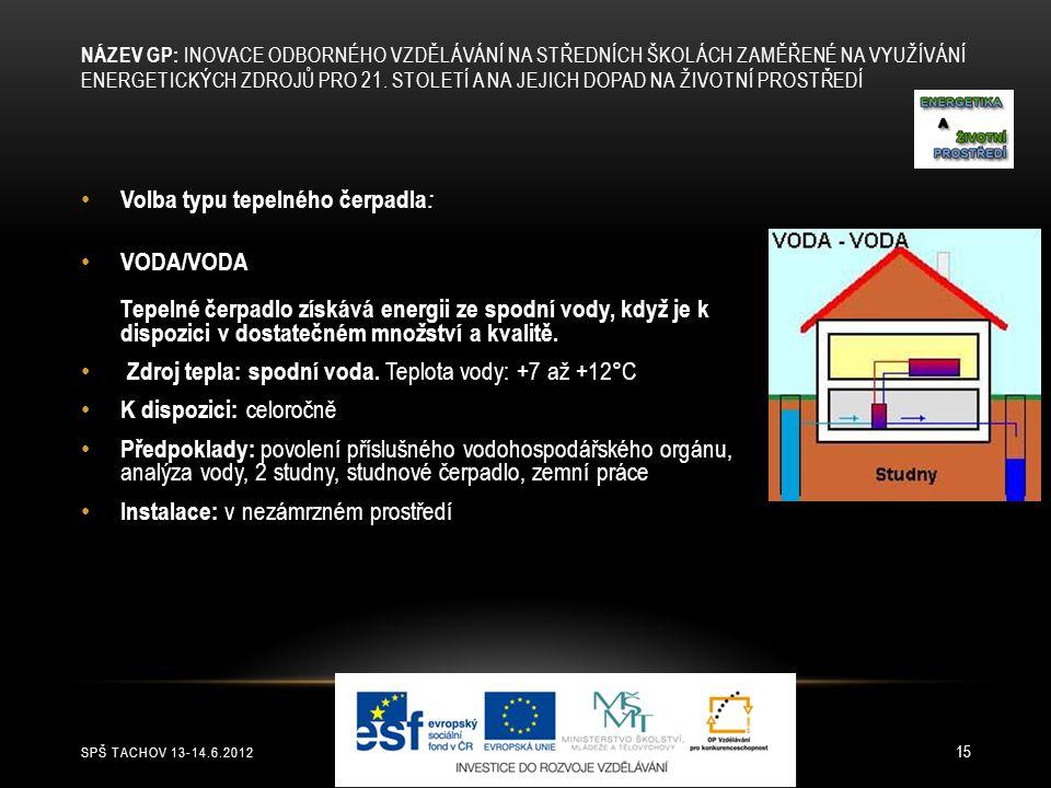 SPŠ TACHOV 13-14.6.2012 15 Volba typu tepelného čerpadla : VODA/VODA Tepelné čerpadlo získává energii ze spodní vody, když je k dispozici v dostatečné
