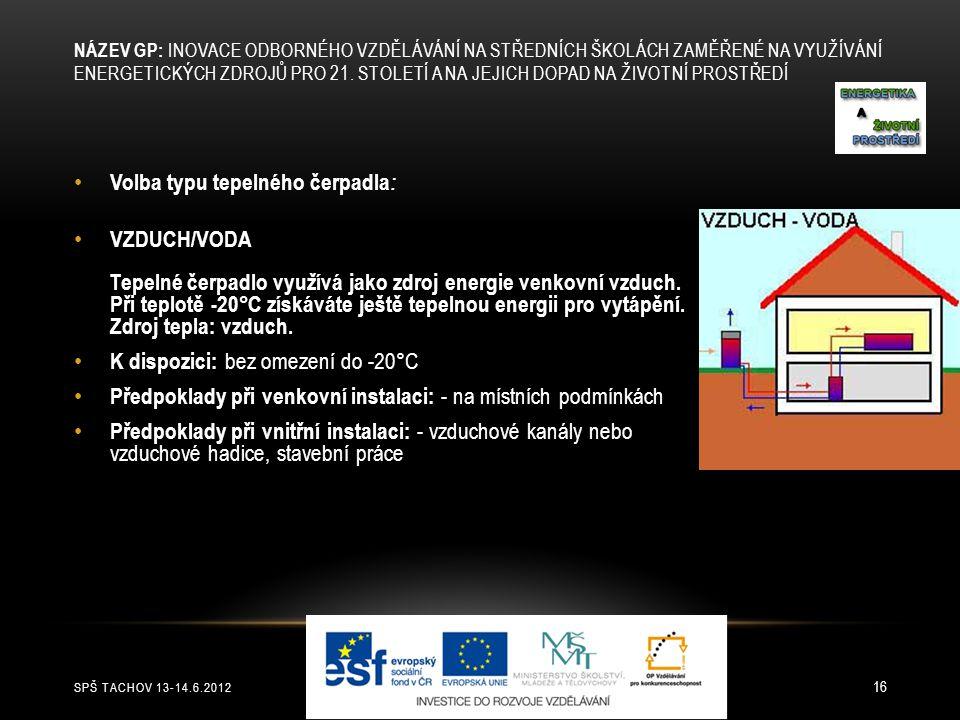 SPŠ TACHOV 13-14.6.2012 16 Volba typu tepelného čerpadla : VZDUCH/VODA Tepelné čerpadlo využívá jako zdroj energie venkovní vzduch. Při teplotě -20°C