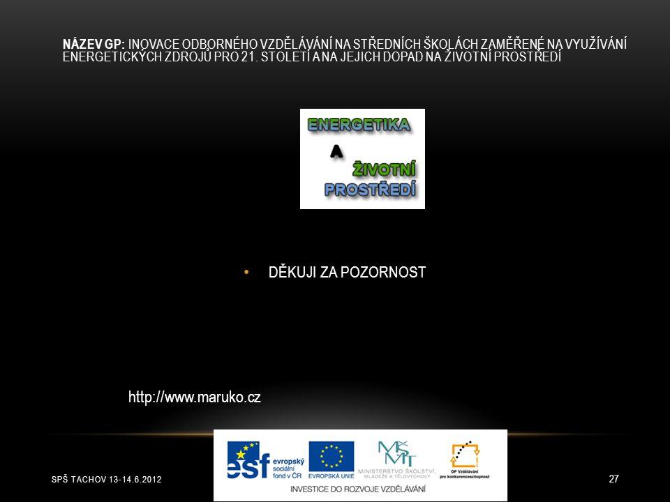 SPŠ TACHOV 13-14.6.2012 27 DĚKUJI ZA POZORNOST NÁZEV GP: INOVACE ODBORNÉHO VZDĚLÁVÁNÍ NA STŘEDNÍCH ŠKOLÁCH ZAMĚŘENÉ NA VYUŽÍVÁNÍ ENERGETICKÝCH ZDROJŮ