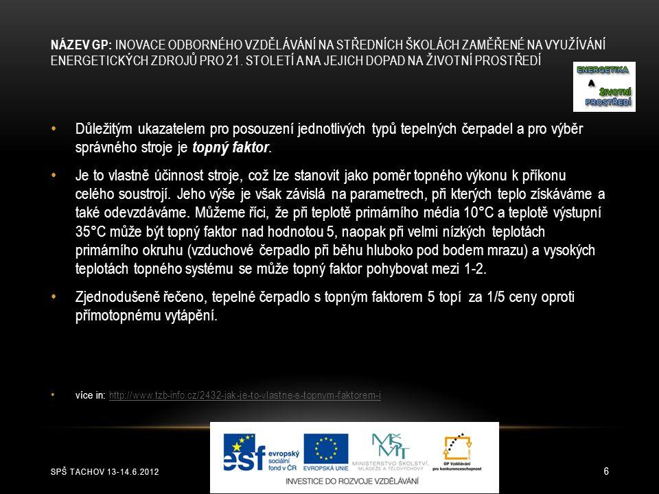 SPŠ TACHOV 13-14.6.2012 6 NÁZEV GP: INOVACE ODBORNÉHO VZDĚLÁVÁNÍ NA STŘEDNÍCH ŠKOLÁCH ZAMĚŘENÉ NA VYUŽÍVÁNÍ ENERGETICKÝCH ZDROJŮ PRO 21. STOLETÍ A NA