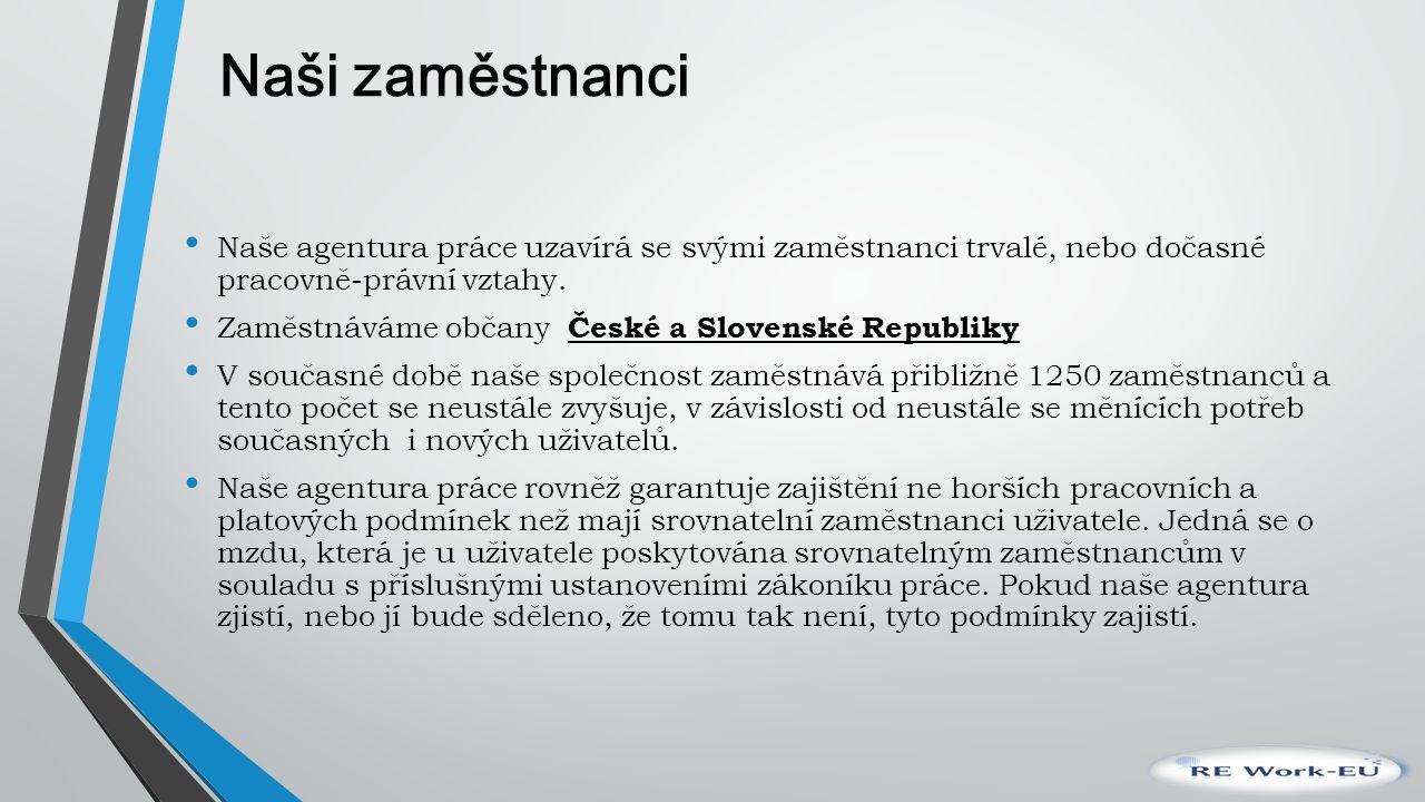 Naši zaměstnanci Naše agentura práce uzavírá se svými zaměstnanci trvalé, nebo dočasné pracovně-právní vztahy. Zaměstnáváme občany České a Slovenské R