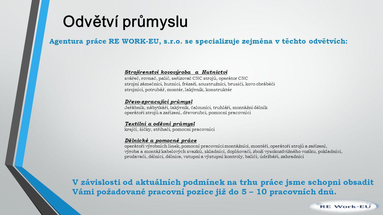 Odvětví průmyslu Agentura práce RE WORK-EU, s.r.o. se specializuje zejména v těchto odvětvích: Strojírenství kovovýroba a Hutnictví svářeč, rovnač, pa