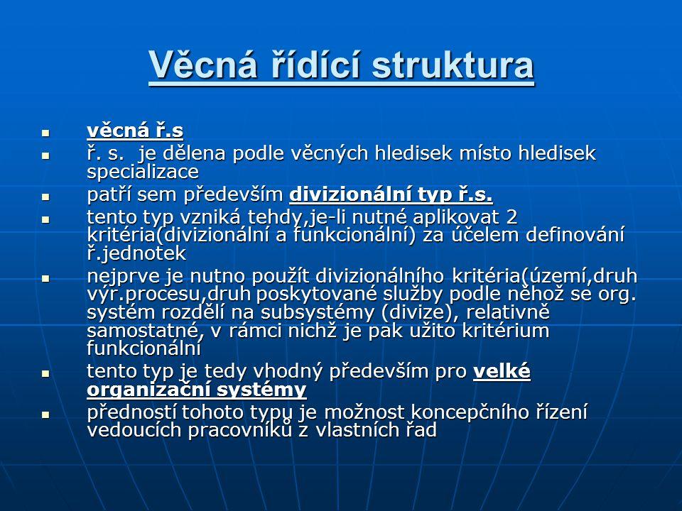 Věcná řídící struktura věcná ř.s věcná ř.s ř. s. je dělena podle věcných hledisek místo hledisek specializace ř. s. je dělena podle věcných hledisek m