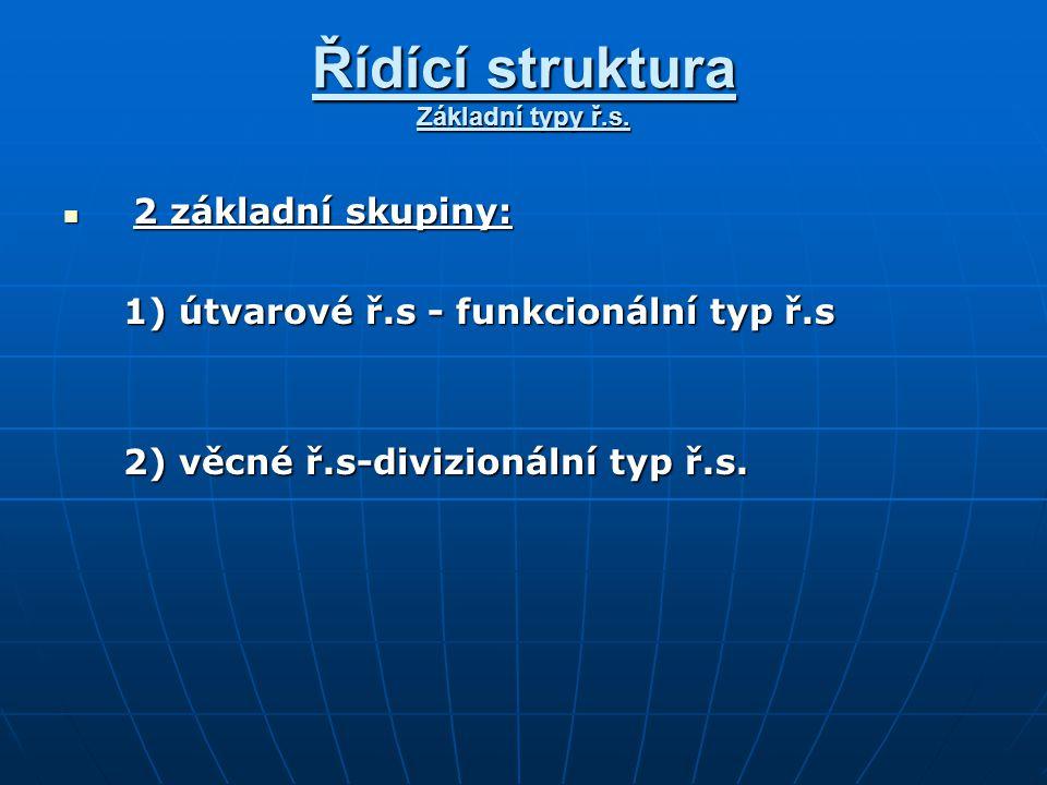 Řídící struktura Základní typy ř.s. 2 základní skupiny: 2 základní skupiny: 1) útvarové ř.s - funkcionální typ ř.s 1) útvarové ř.s - funkcionální typ