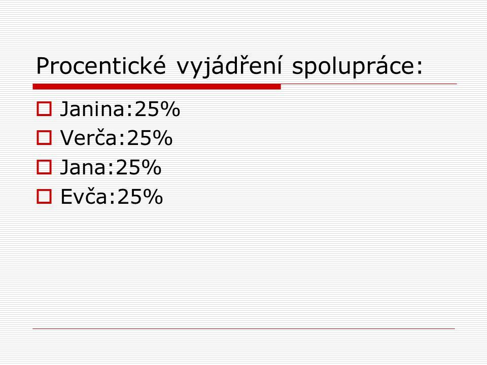 Procentické vyjádření spolupráce:  Janina:25%  Verča:25%  Jana:25%  Evča:25%