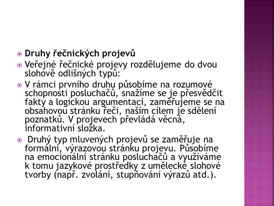 Literatura:  BUCHTOVÁ, B. Rétorika. Praha: Grada, 2006.
