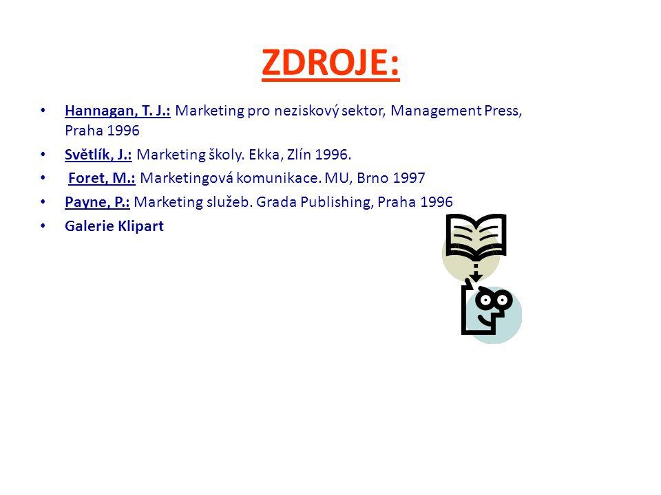 ZDROJE: Hannagan, T. J.: Marketing pro neziskový sektor, Management Press, Praha 1996 Světlík, J.: Marketing školy. Ekka, Zlín 1996. Foret, M.: Market