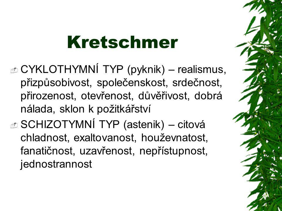 Kretschmer  CYKLOTHYMNÍ TYP (pyknik) – realismus, přizpůsobivost, společenskost, srdečnost, přirozenost, otevřenost, důvěřivost, dobrá nálada, sklon