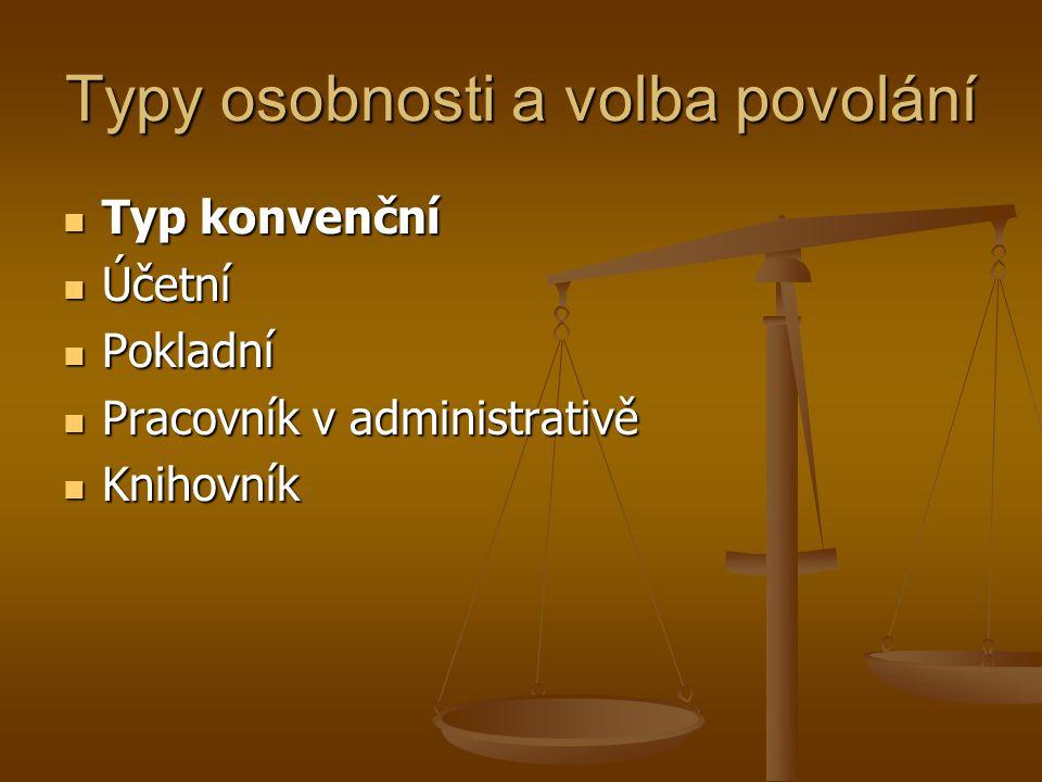 Typy osobnosti a volba povolání Typ konvenční Typ konvenční Účetní Účetní Pokladní Pokladní Pracovník v administrativě Pracovník v administrativě Knih