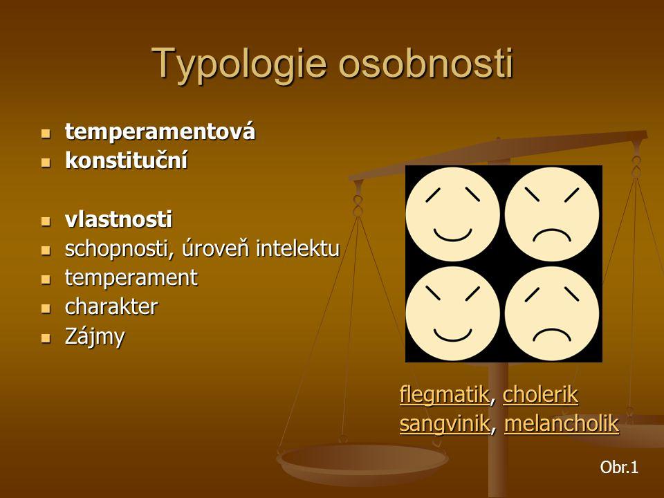 Typologie osobnosti temperamentová temperamentová konstituční konstituční vlastnosti vlastnosti schopnosti, úroveň intelektu schopnosti, úroveň intele