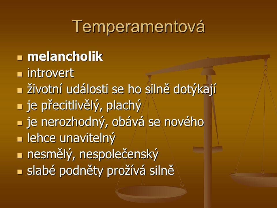 Temperamentová melancholik melancholik introvert introvert životní události se ho silně dotýkají životní události se ho silně dotýkají je přecitlivělý
