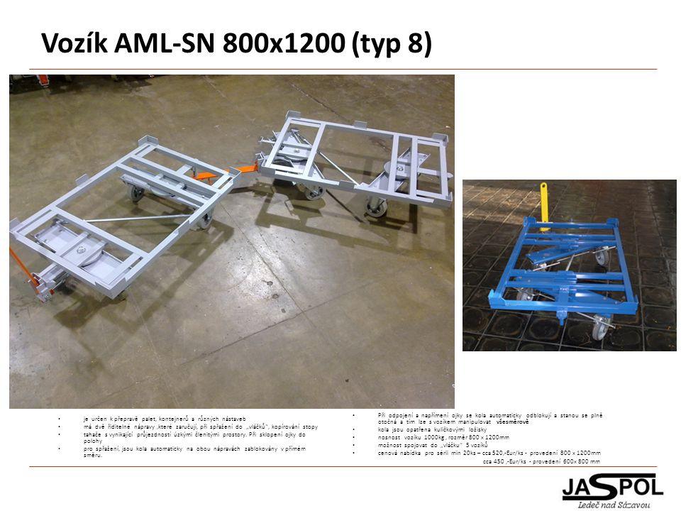 Vozík AML-SN 800x1200 (typ 8) Při odpojení a napřímení ojky se kola automaticky odblokují a stanou se plně otočná a tím lze s vozíkem manipulovat všes