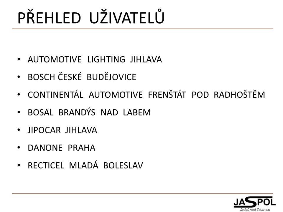 PŘEHLED UŽIVATELŮ AUTOMOTIVE LIGHTING JIHLAVA BOSCH ČESKÉ BUDĚJOVICE CONTINENTÁL AUTOMOTIVE FRENŠTÁT POD RADHOŠTĚM BOSAL BRANDÝS NAD LABEM JIPOCAR JIH