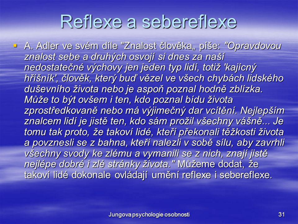 Jungova psychologie osobnosti31 Reflexe a sebereflexe  A. Adler ve svém díle
