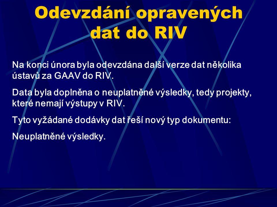 Odevzdání opravených dat do RIV Na konci února byla odevzdána další verze dat několika ústavů za GAAV do RIV.