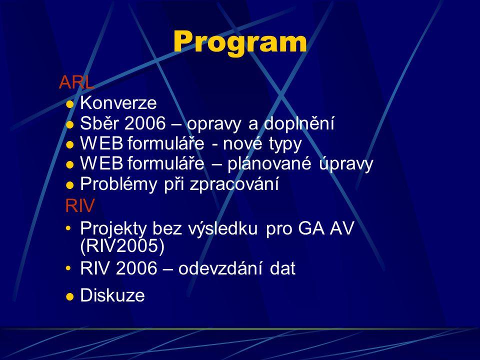 Program ARL Konverze Sběr 2006 – opravy a doplnění WEB formuláře - nové typy WEB formuláře – plánované úpravy Problémy při zpracování RIV Projekty bez výsledku pro GA AV (RIV2005) RIV 2006 – odevzdání dat Diskuze