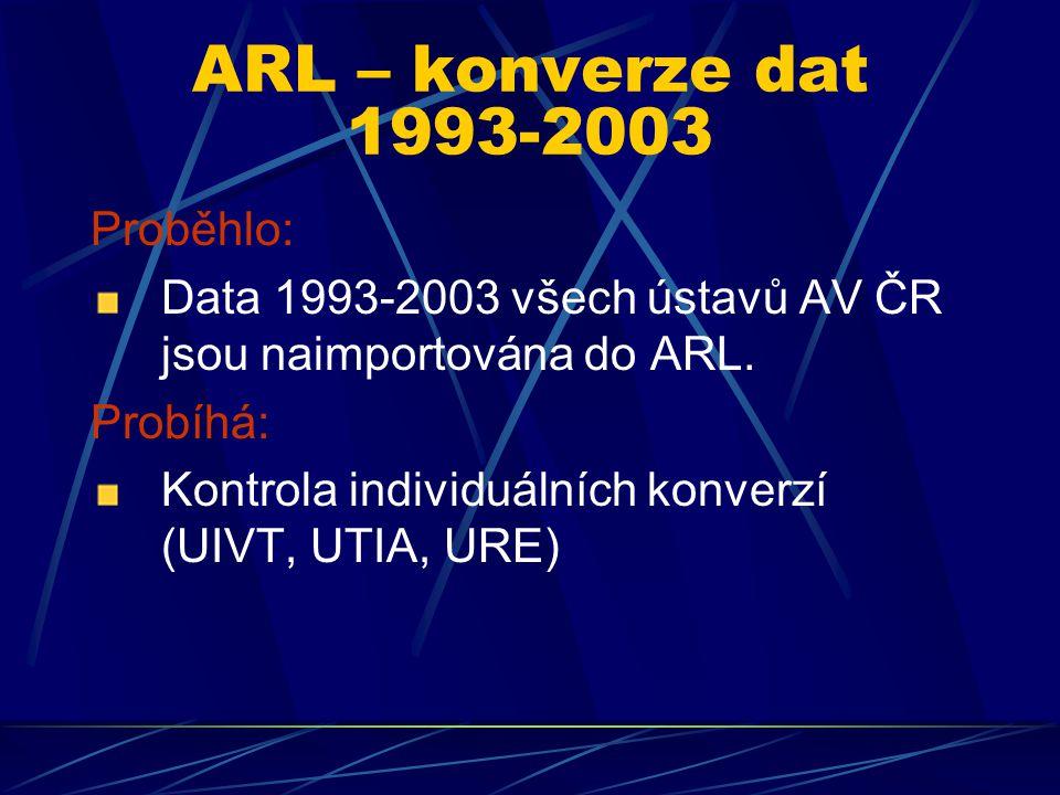 ARL – sběr 2006 - 1 56 ústavů – sběr on-line 1 ústav – import dat z jiného systému Do statistik byla zahrnuta data, která byla v systému k 31.