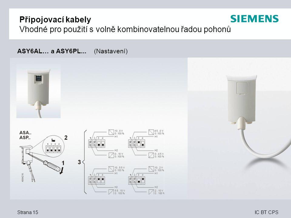 IC BT CPS Strana 15 Připojovací kabely Vhodné pro použití s volně kombinovatelnou řadou pohonů ASY6AL… a ASY6PL... (Nastavení)